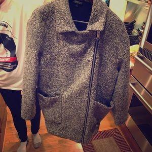 TopShop Grey Herringbone Speckled Coat
